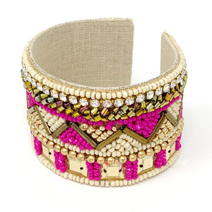Charlotte Beaded Cuff in Fuchsia and Gold
