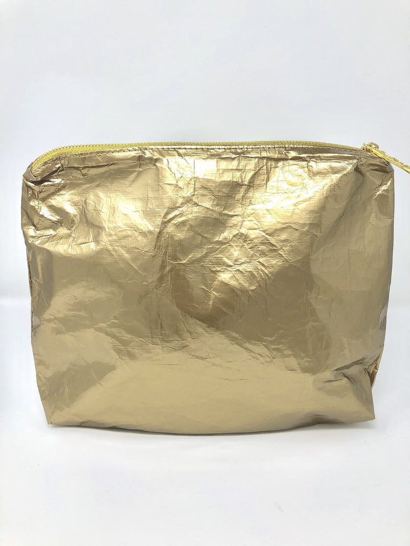 Hi Love Travel Solid Gold Medium Pouch
