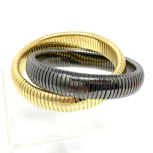 Double Coil Bracelet in Gold and Gunmetal