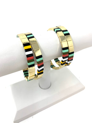 SALE! Tile Bracelet in Gold with Mint Tones