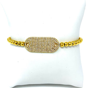 Ball Bracelet with Pave Plate in Gold