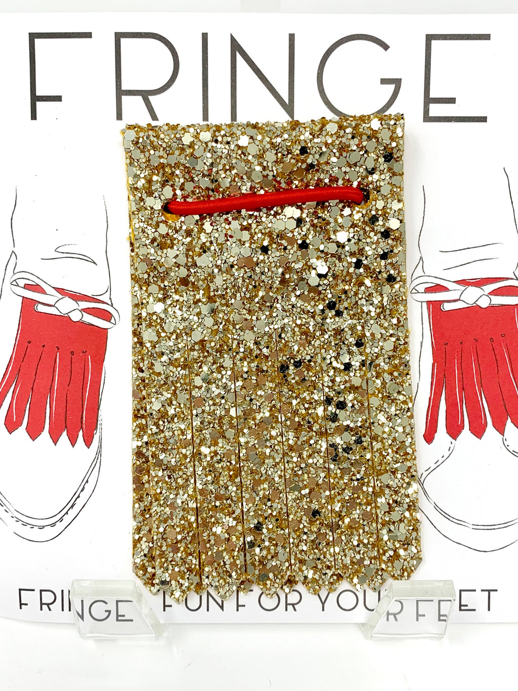 Shoe Fringe Long in Gold Glitter