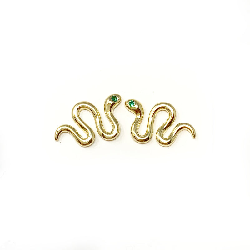 Slick Snake Studs with Emerald Green Eyes
