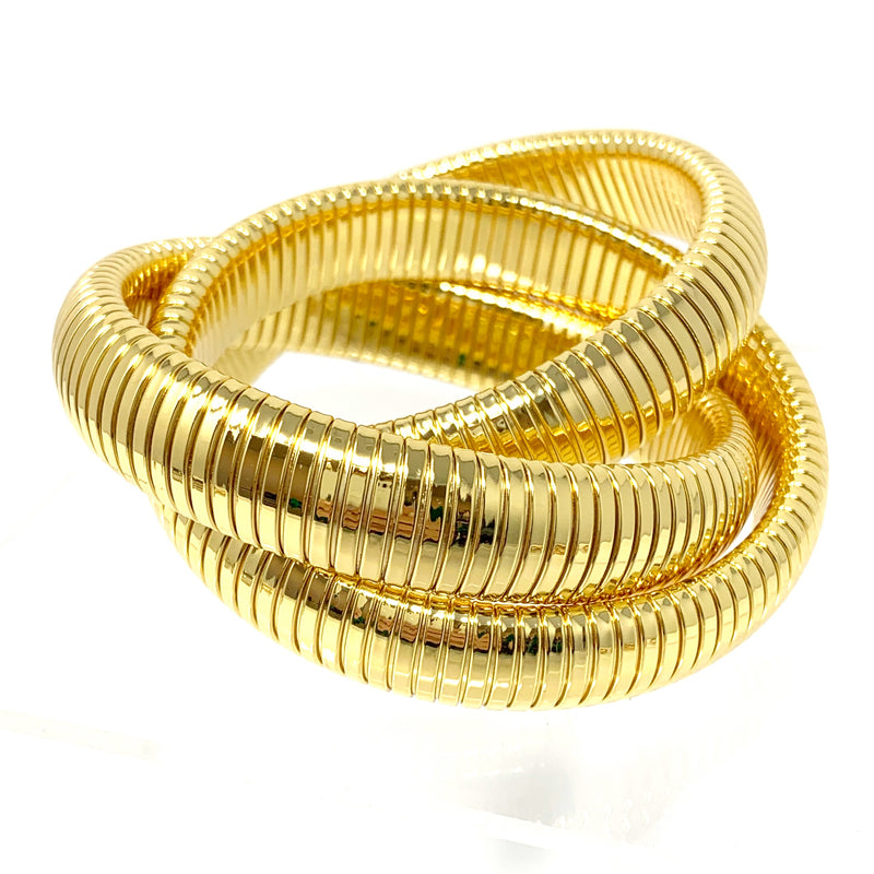 Triple Coil Bracelet in Gold