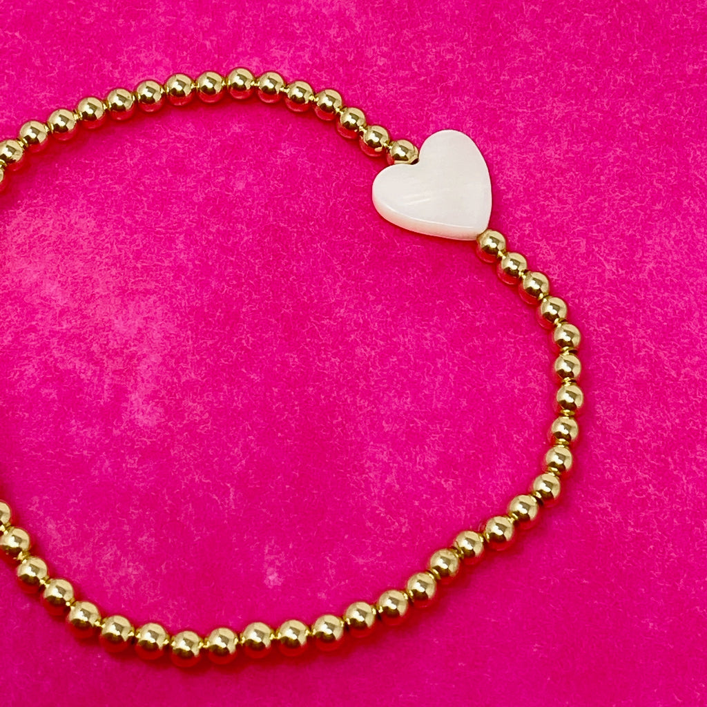 Mini Gold Ball Bracelet with Pearly Heart