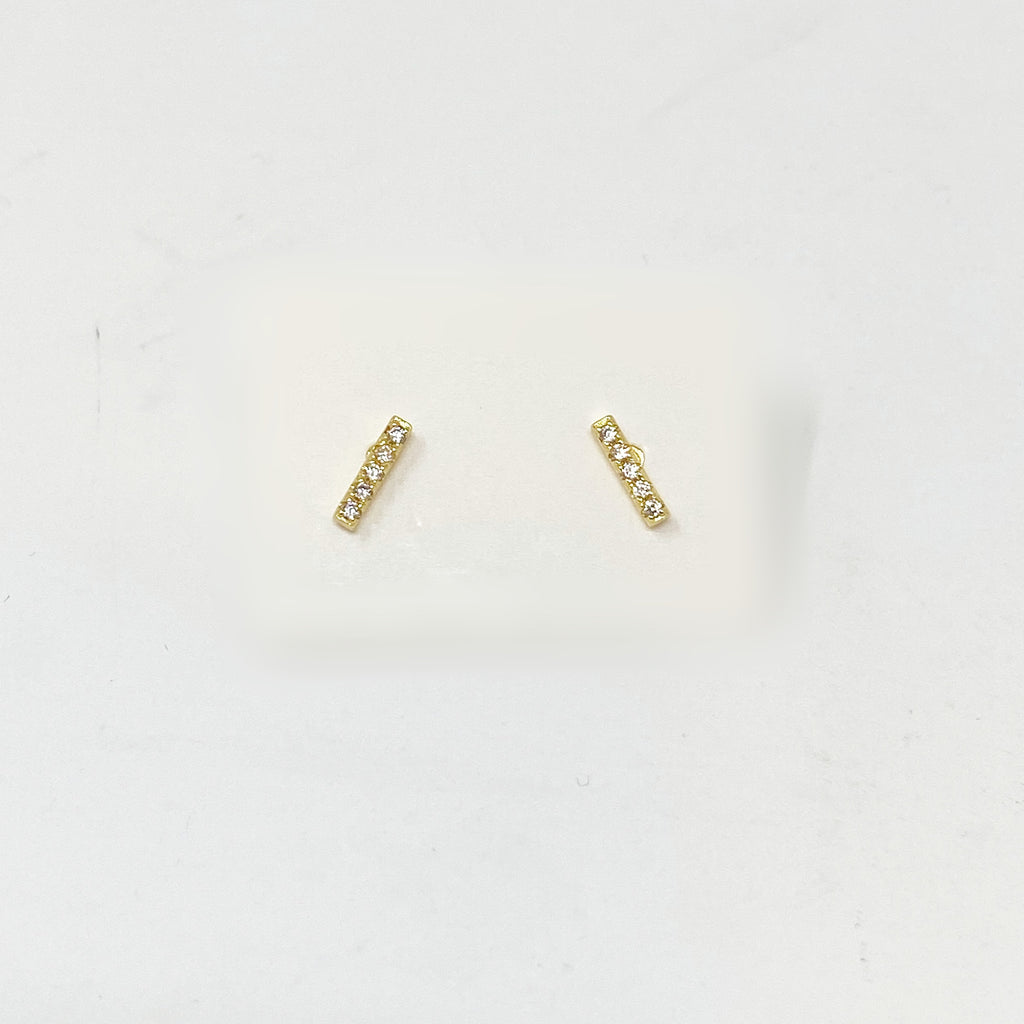 Pave Bar Studs in Gold