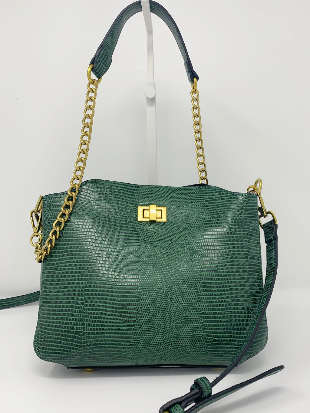 Reptile Embossed Bucket Bag with Chain and Crossbody Strap in Emerald Green