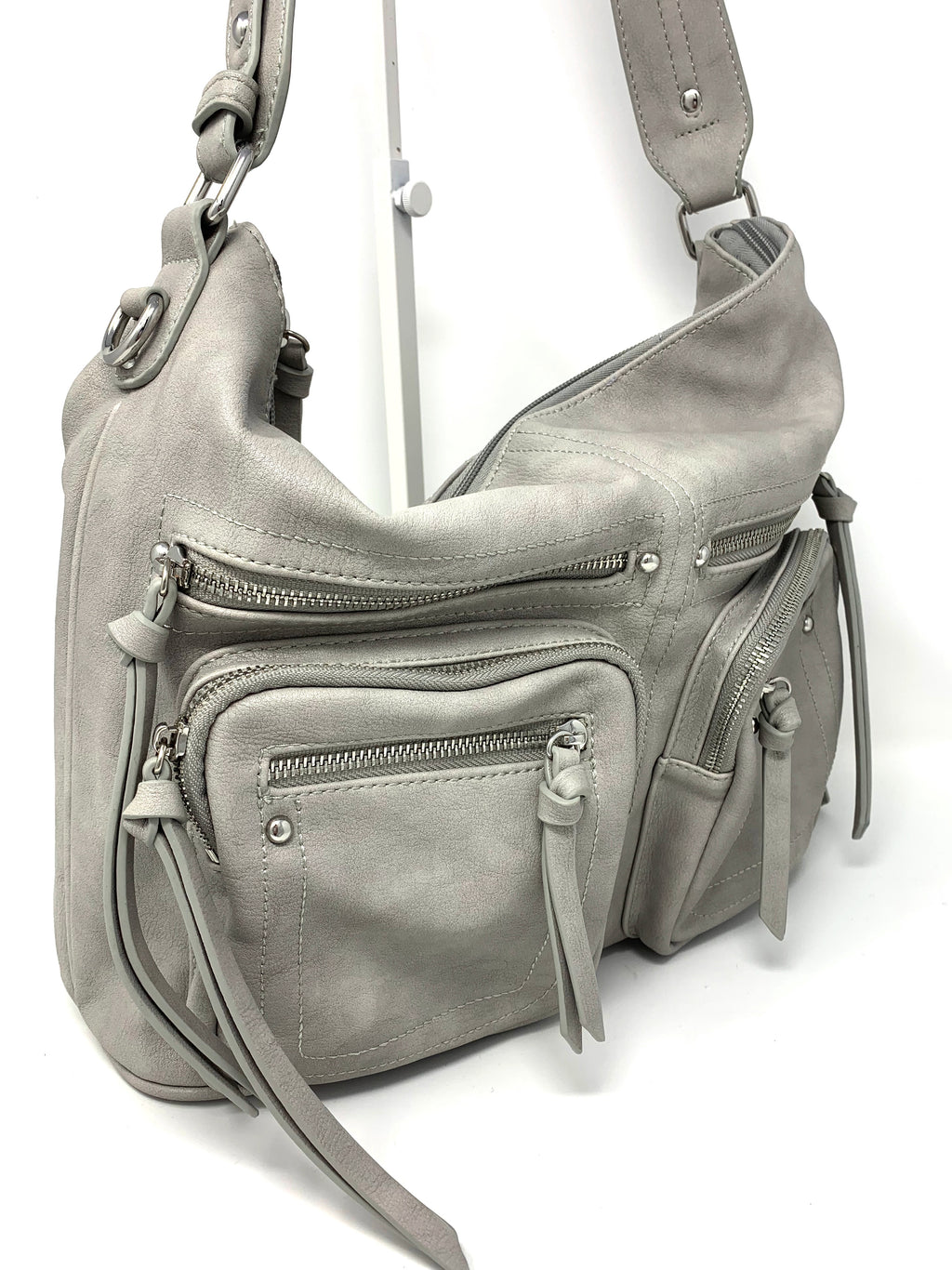 The Michelle Cargo Bag in Soft Grey