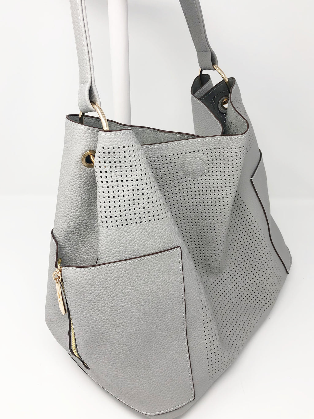 Large Perforated Bucket Bag in Light Grey