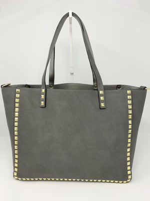 Large Studded Tote with Pouch in Dark Grey and Silver