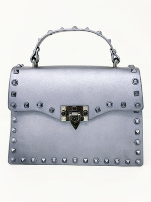 Grey Self - Studded Handle Bag