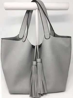 Tassel Flap Bag with Matching Pouch in Grey