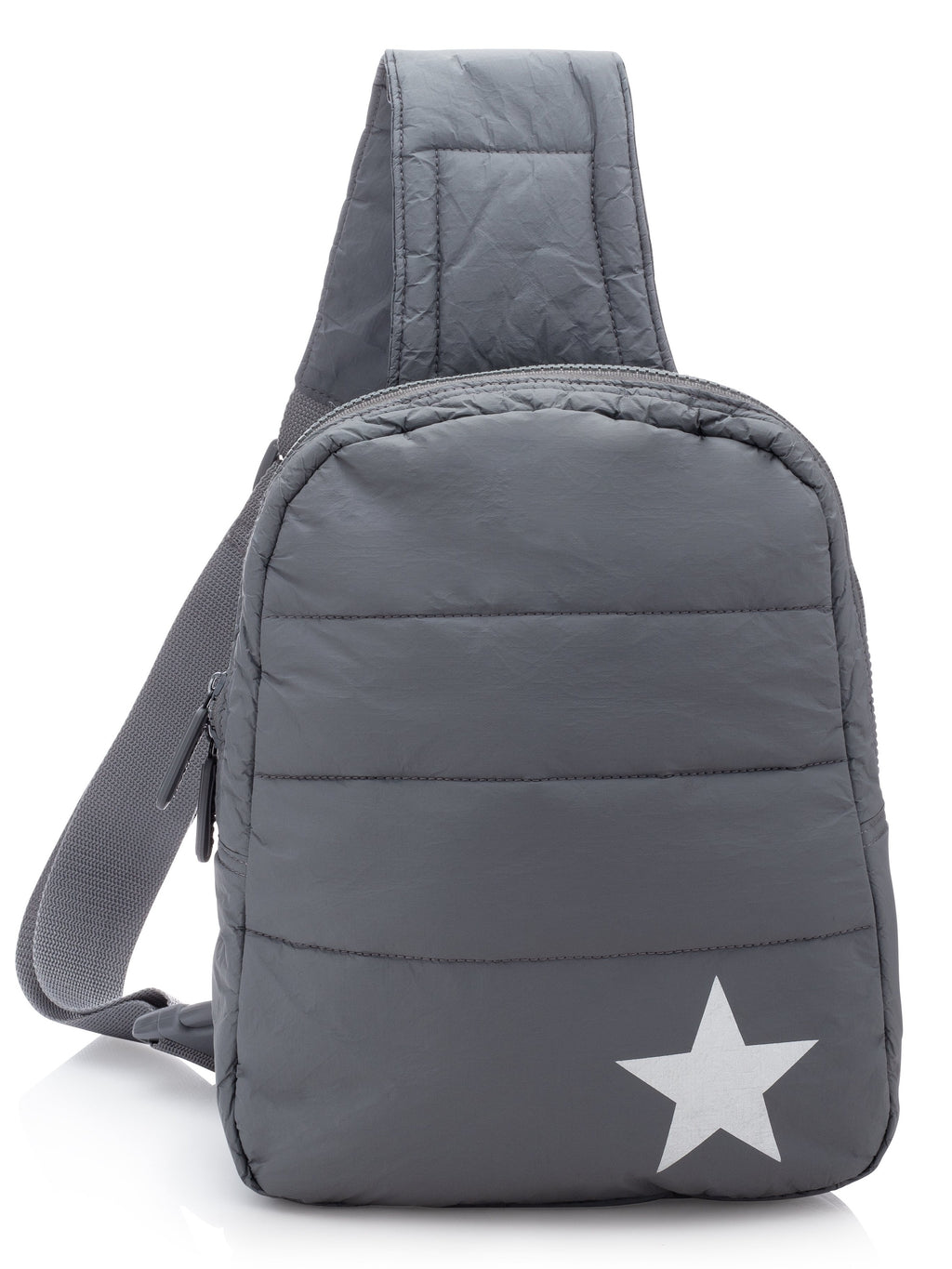 Hi Love Travel Puffer Backpack in Grey with Silver Star