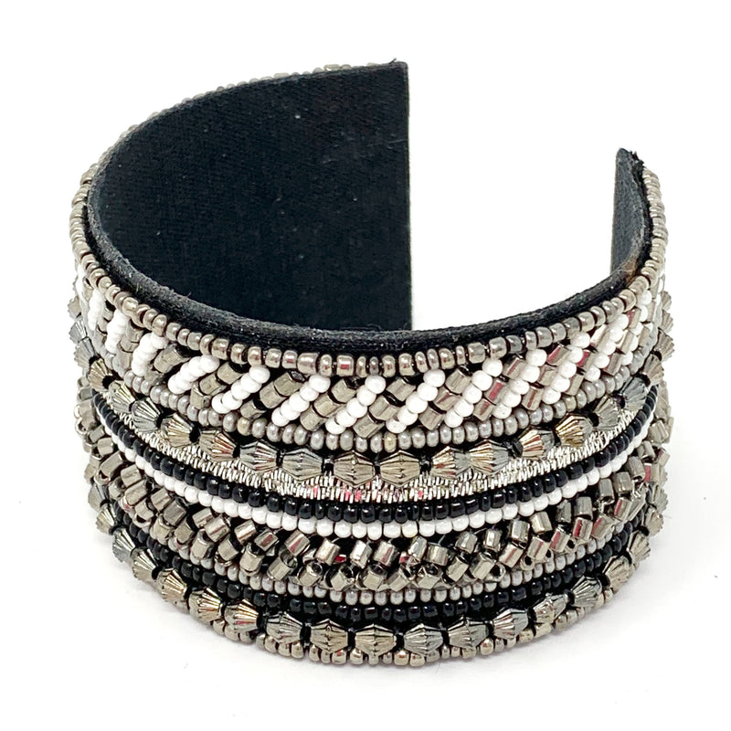Michelle Beaded Cuff in Black and Silver