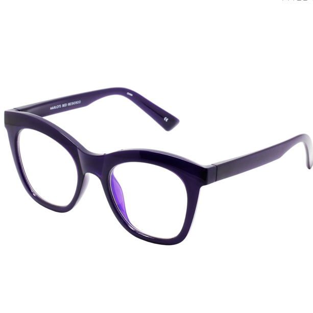 Harlots Bed Blue Screen Glasses in Deep Purple
