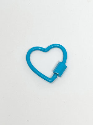 Charming Heart Shaped Carabiner Clip in Turquoise