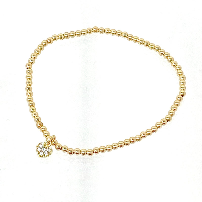 Mini Gold Ball Bracelet with Heart Charm