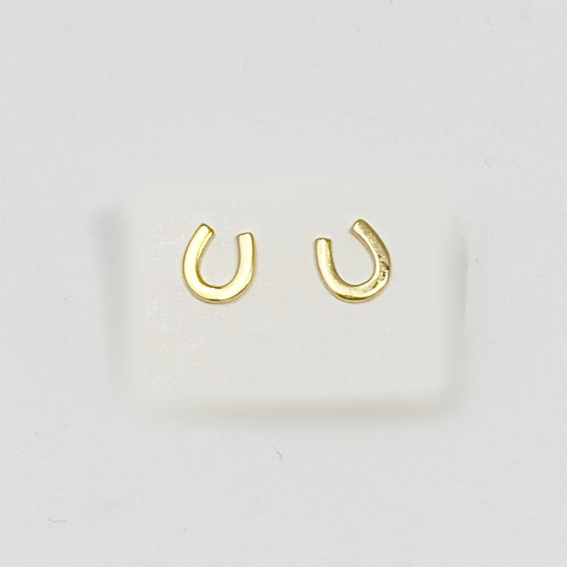 Lucky Horseshoe Studs in Gold
