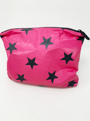 Hi Love Travel Hot Pink with Stars Medium Pouch