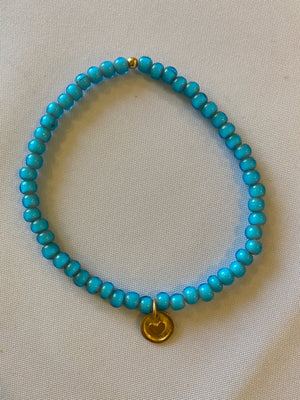 Blue Glass Bead Anklet with Gold Charm
