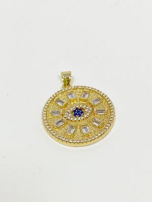 Charming Jeweled Evil Eye Charm in Gold