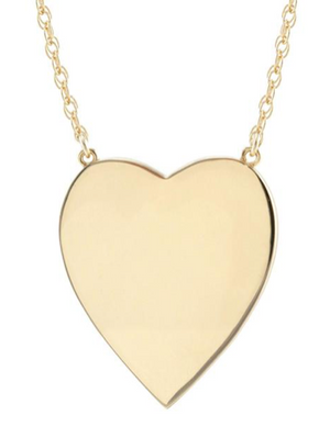 Large Heart Pendant on Rope Chain in 18K Gold Vermeil