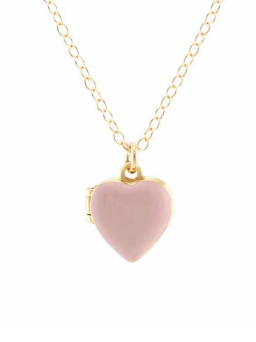 Heart Locket in Rose Quartz Pink Enamel