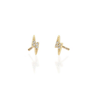 Pave Bolt Earrings in Gold