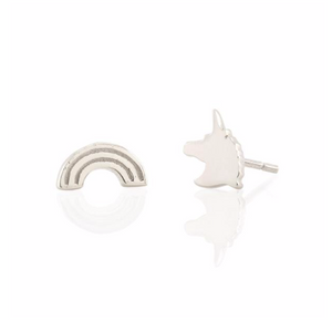 Unicorns and Rainbows Studs in Silver