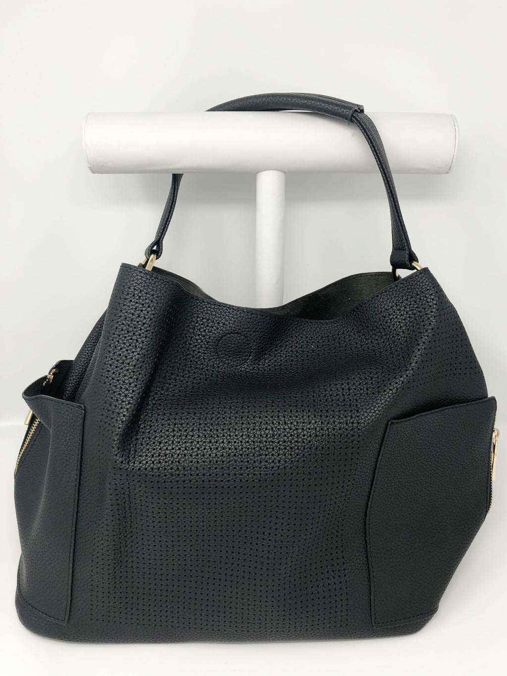 Large Perforated Bucket Bag in Black