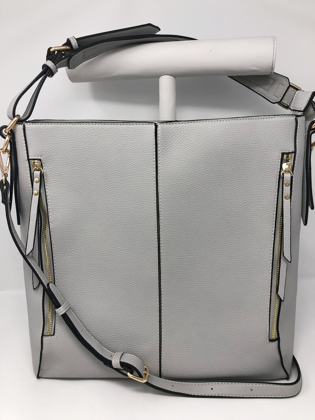 SALE! Large Zipper Bucket Bag in Grey