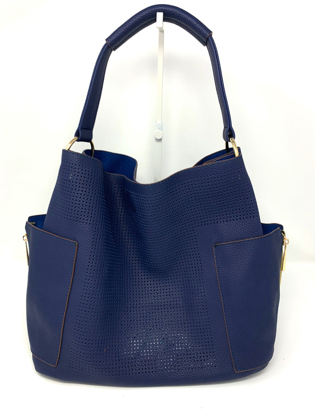 Large Perforated Bucket Bag in Navy