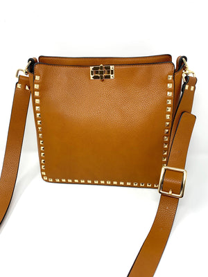 Large Studded Crossbody Bag in Cognac