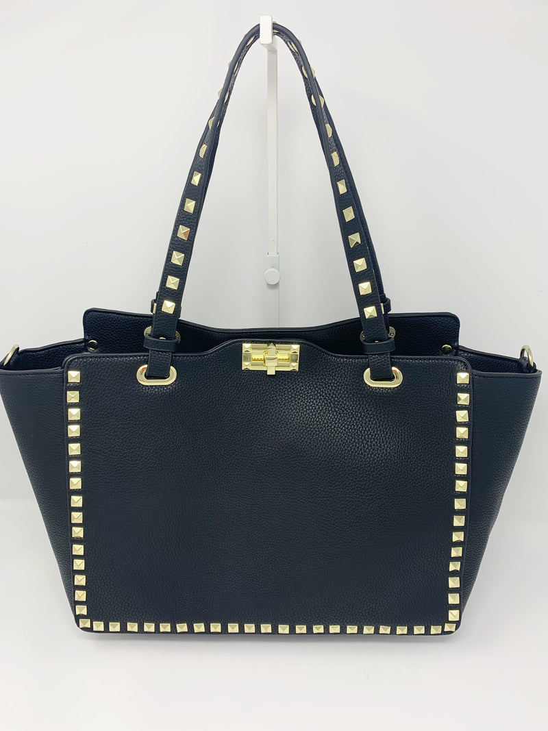 Large Studded Shoulder Bag in Black