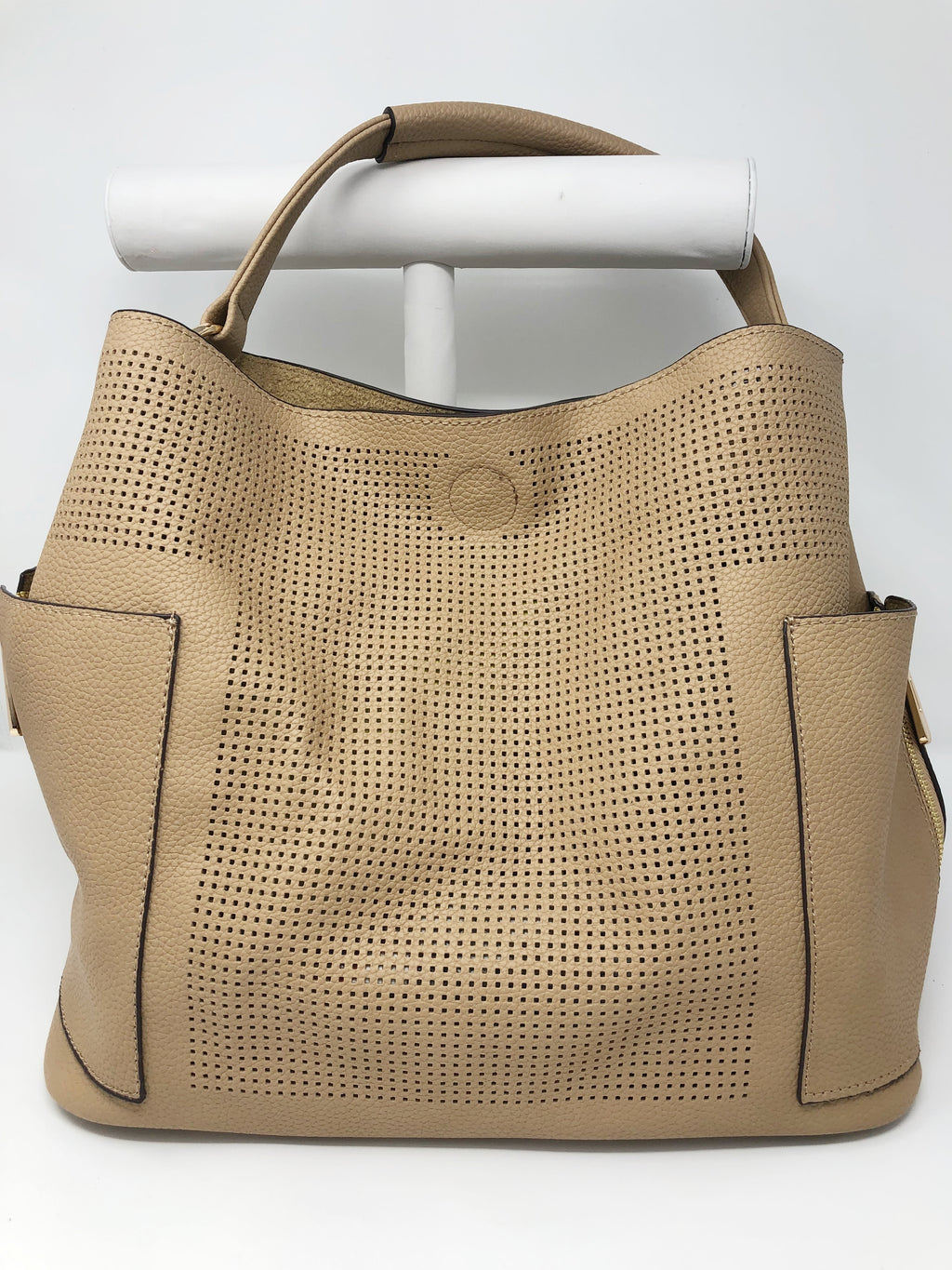 Large Perforated Bucket Bag in Tan