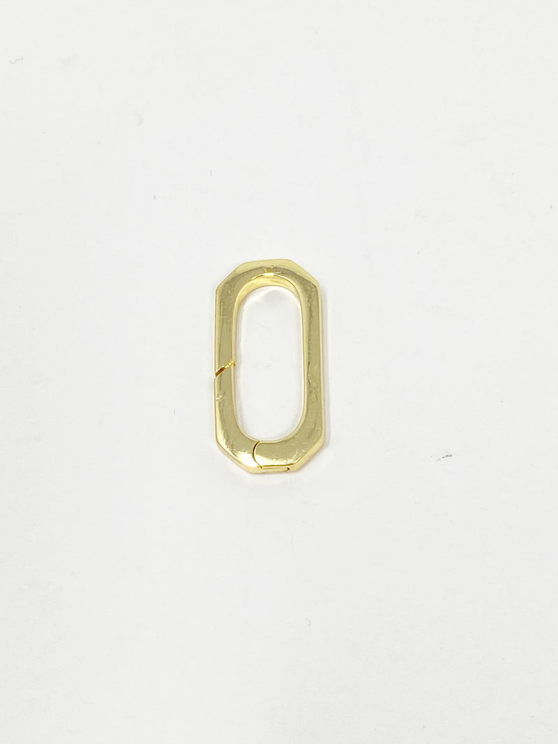 Charming Large Rectangle Spring Clasp in Gold