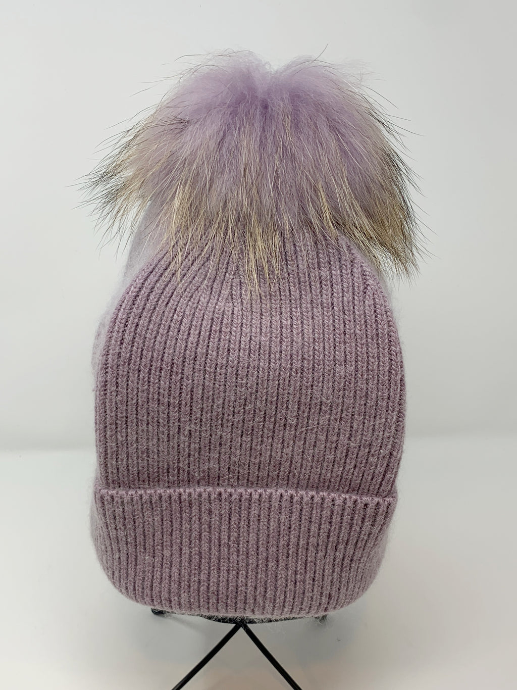 Fur Pom Hat in Lavender