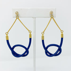 Sale! Leather Loop de Loo Earrings in Blue