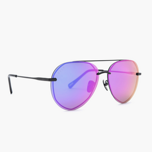 Lenox Matte Black Aviator with Purple Mirror Lens