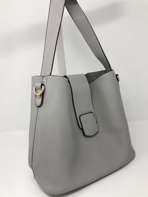 Medium Bucket Bag with Flap Closure in Light Grey