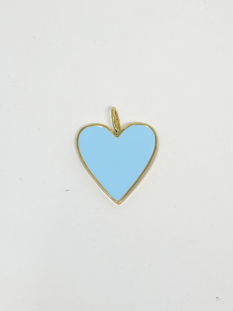 Charming Heart Charm in Sky Blue