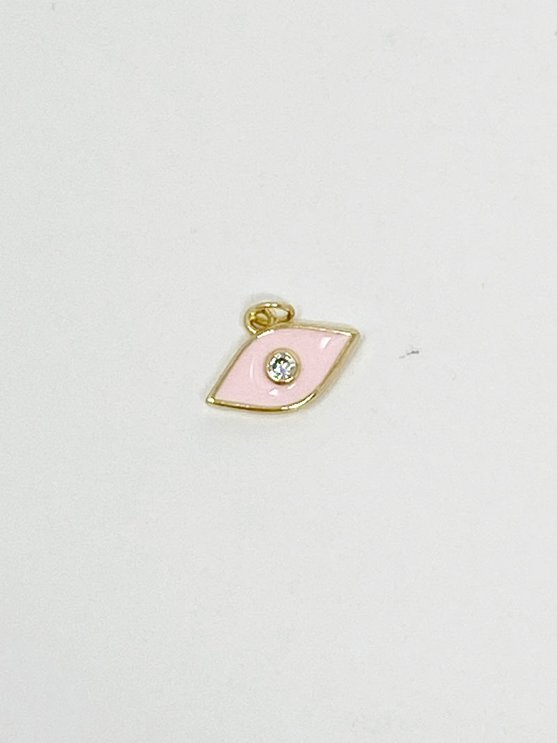 Charming Pink Eye with CZ Stud Charm in Gold