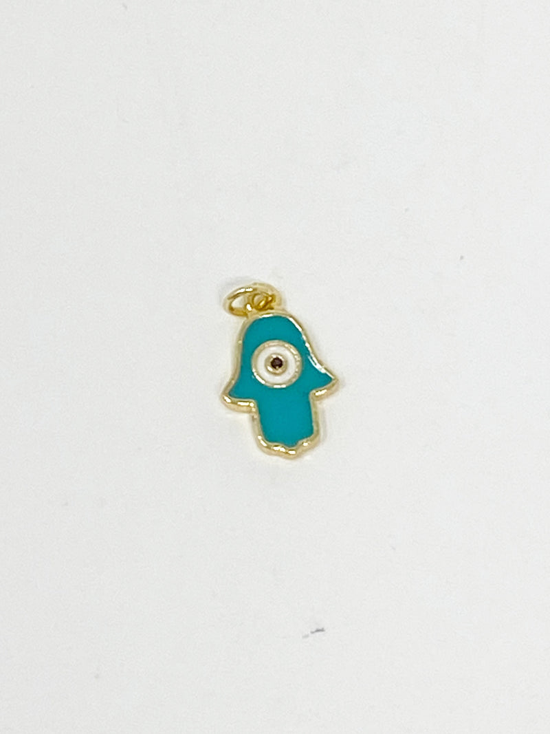 Charming Teal Enamel Hamsa with CZ Stud Charm in Gold