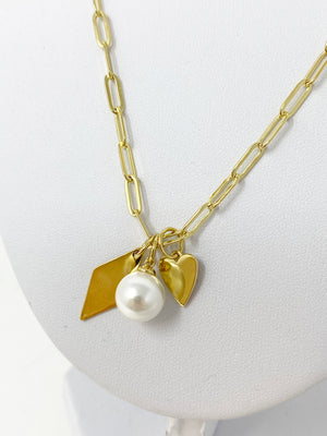 Addison Chainlink Charm Necklace in Gold