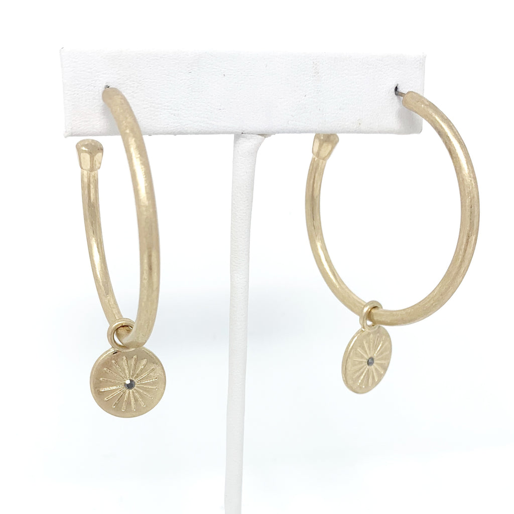 SALE! Charm Hoops in Gold