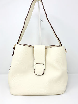 Medium Bucket Bag with Flap Closure in Ivory