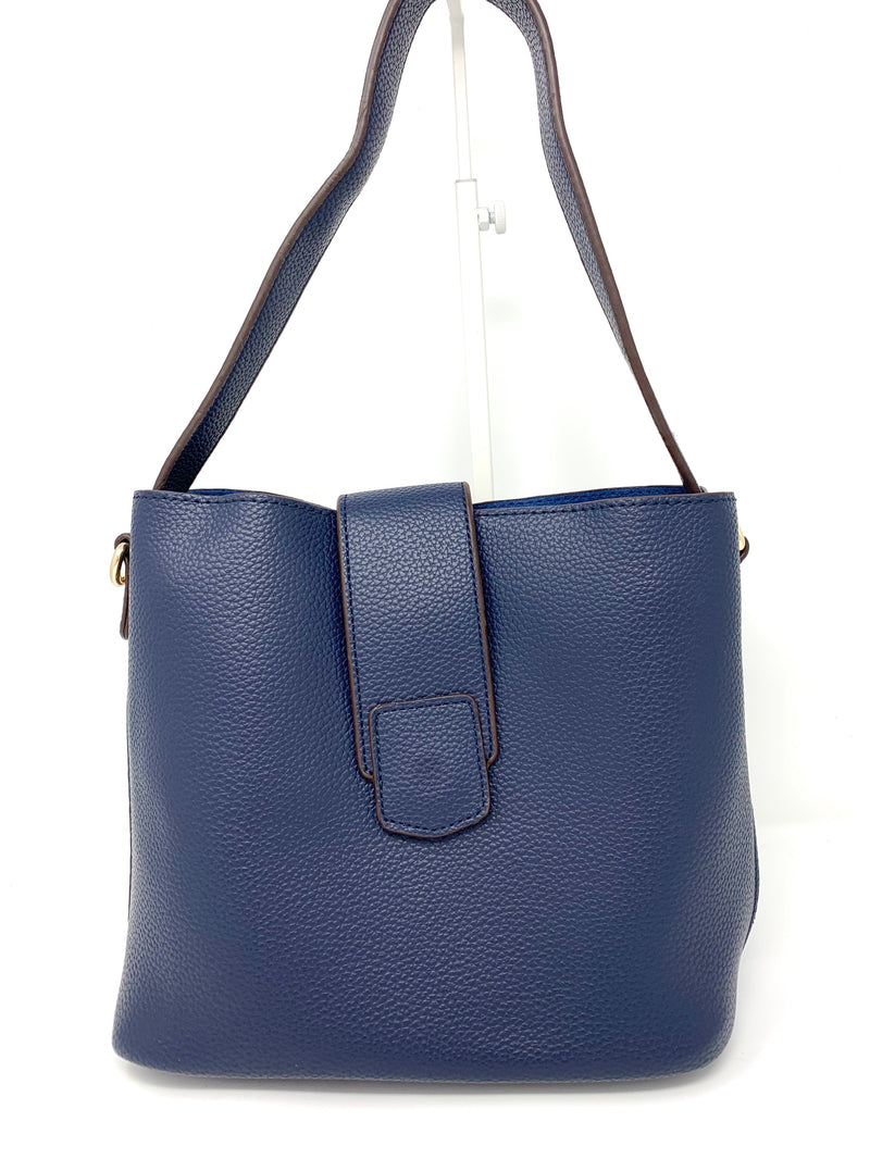 Medium Bucket Bag with Flap Closure in Navy