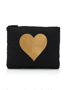 Hi Love Travel Black Medium Pouch with BIG Gold Heart