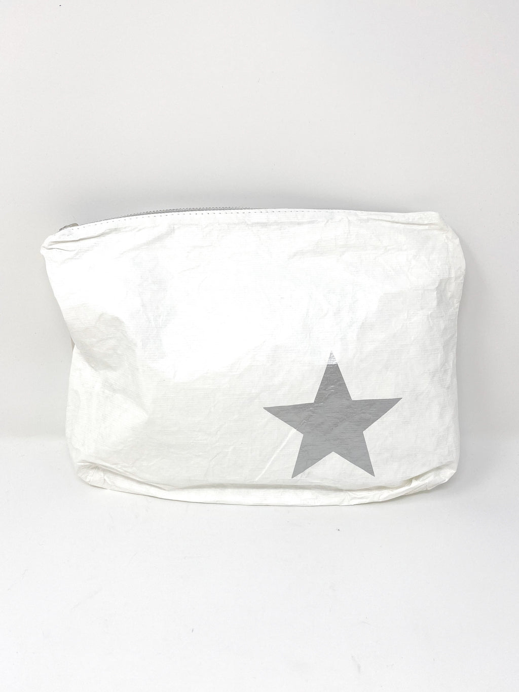 Hi Love Travel Medium White Pouch with Silver Star