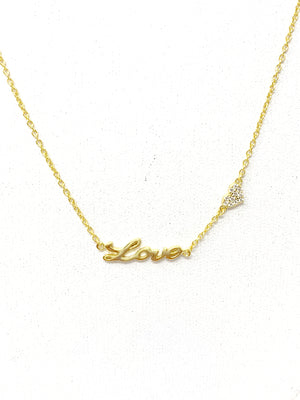 Mini Cursive LOVE with One Pave Heart in Gold